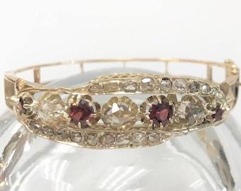 "RARE - Antique Bangle with Rose Cut Diamonds & Garnets - 14 karat yellow gold - for 6 1/2"" wrist"