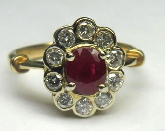 Genuine Oval Cut Ruby & Diamond Ring