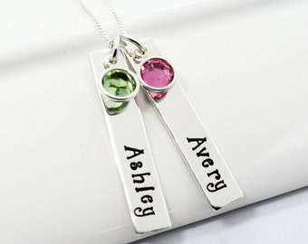 Personalized Mother Necklace   Hand-Stamped Necklace   Two bar Children's Names with Birthstones
