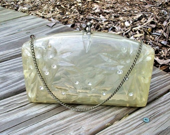 Vintage Lucite Acrylic Clear Rhinestones Clutch Purse Evening Bag