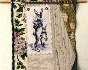 Mixed Media Art Quilt with Vintage Rabitt Image