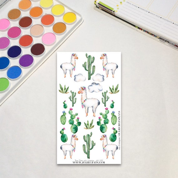 Whimsical Llama Planner Sticker Sheet, The One with Llamas - Lots of Llamas, Erin Condren, Happy Planner, Traveler's Notebook