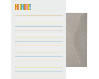 Writing Set – Hi there. Letter Writing Set. Recycled Paper Writing Set. Note Paper. Stationery Set. Cute Letter Set.