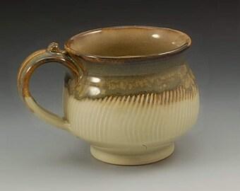 Handmade Pottery Mug Brown and Green Stoneware by Mark Hudak