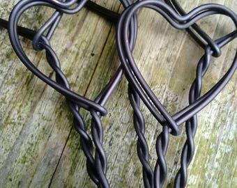 Rustic metal stick in heart metal twist wedding table number/menu/photo holders