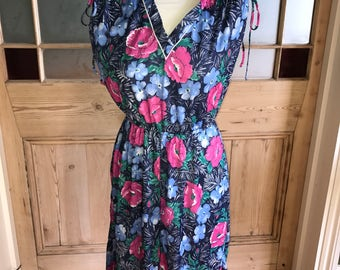 Vintage floral print summer dress C&A approx UK 10 US 6
