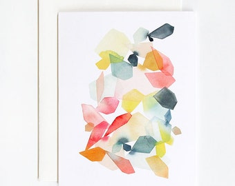 Gems in Coral & Turquoise - A2 Greeting Card