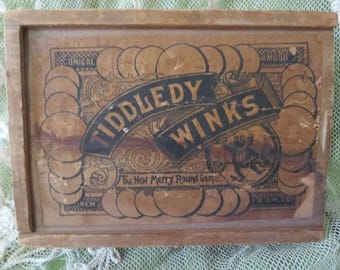 Antique Victorian Wooden Tiddledy Winks Game Box, Antique Wooden Box, Antique Child's Game, Antique Victorian Paper Label, Antique Toy Game
