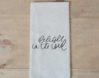 Bible verse towel etsy delight in the lord tea towel present housewarming gift hand towel bible negle Choice Image