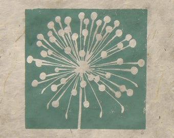 Allium seed head mini linocut print