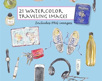 CLIP ART- Watercolor Traveling Set. 21 Images. Digital Download. Journey. Holiday. Travel. Adventure. Map. Passport. Trip. Vacation. Life.