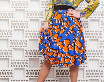 NEW COLLECTION // printed skirt // afro skirt // three quarter skirt // viscose skirt // one of a kind