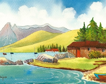 Original Watercolour, Painting, Wooden Hut, Fjord, Norway, Size 14ins x 11ins, Gift Idea, Art and Collectables