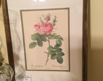 Redoute Floral Print Double Matted Wood Frame