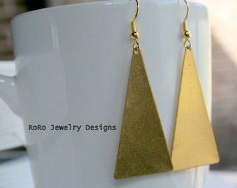 Golden Triangle Dangle Earrings (Brass)- LAST PAIR