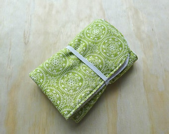 Woodland whimsy green and white pattern wipeable baby change mat cover. change mat cover. nappy wallet change mat