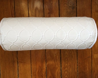White Bolster Pillow Cover, White Geometric Pillow Cover, 6''x16''