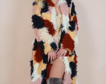 SERPA FAUX FUR Coat | Gorgeous Knee Length Creamy Terra Cotta Color Palette | A Stand Out for the Holiday Season