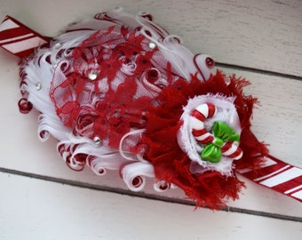 Handcrafted Candy Cane Headband - Red and White Feather Headband - Candy Cane Christmas Accessory - Baby Girl Christmas Headband - Baby Bows