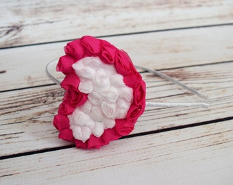 Handcrafted Hot Pink and White Romantic Heart Headband - Adult Headband - Vintage Style Hair Accessory - Cottage Chic Bows -Tween Headband