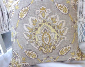 Taupe Ikat Pillow Cover - accent pillow - Pillow Covers - throw pillows - pillow cover in shades of brown, taupe and gold
