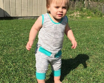 Harem Style Romper/ Gender Neutral Romper/ Art Gallery Fabrics/ Baby and Toddler/ Tank or Sleeve Options/