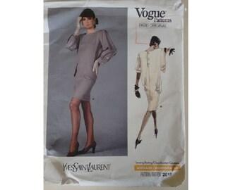 "Vogue #2012 Paris Original Vintage 80's Yves Saint Laurent loose-fitting pullover Dress 2 Options Sewing Pattern Size UK 14 Bust 36"""