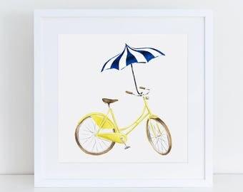 Yellow Beach Cruiser with Navy Pagoda Umbrella Fine Art Watercolor Print
