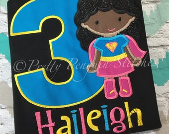 Super Girl Birthday Shirt- Brigt Colors- superhero -Inspired Birthday Shirt- Applique- Embroidered