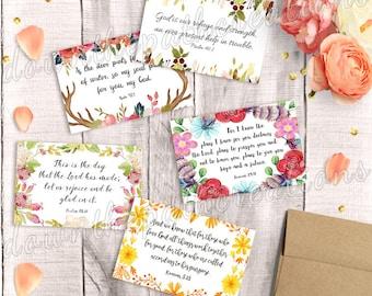 Bible Verse Cards, Set of 5, Printable, Instant Download, 4x6 print, Scripture Postcard, Greeting Pack, Inspirational Art Journal, Bookmarks