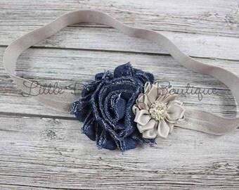 Denim & silver headband {dark denim and grey headband, baby headband}