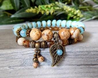 Set of 2 Bracelets, Boho Bracelets, Boho Style Jewelry, Blue Bracelet, Bohemian Bracelet, Blue Brown Bracelets, Bracelets for Women, Stacked