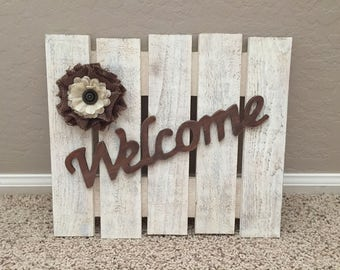 Rustic Pallet Welcome Sign, Rustic Sign, Welcome Sign, Pallet Sign, Wood Welcome Sign