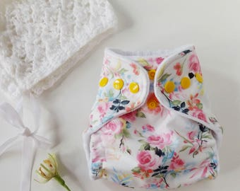 Newborn All in two cloth diaper, hidden PUL pink and yellow floral baby diaper, newborn cloth nappy
