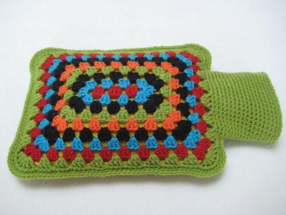 Granny Square Rectangular Hot Water Bottle Cover Crochet