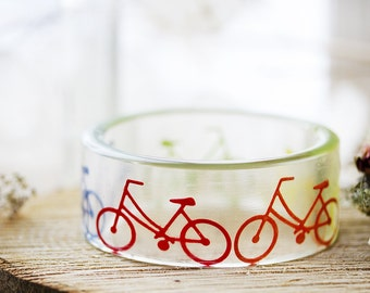 Vintage Bicycle Bangle - Rainbow - Cyclist Bangle , Gifts for Her , Resin Bangle , Bicycle Jewelry , Gifts for Cyclists