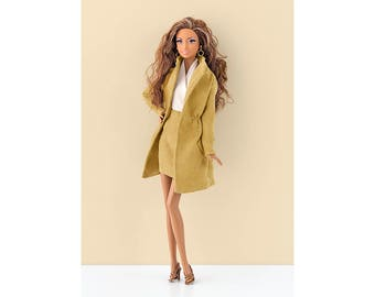 "Mustard ""suede"" gabardine for Barbie and Poppy Parker"