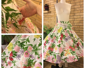 Vintage 1950's Floral Full Circle Skirt Size S with Rhinestones