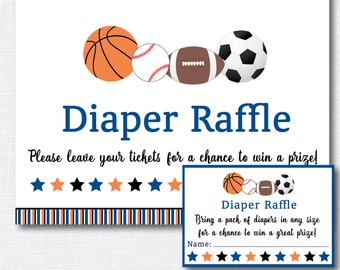 Sports Diaper Raffle Ticket - Sports Baby Shower - Diaper Raffle Ticket and Party Sign - INSTANT DOWNLOAD
