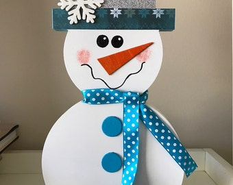 Winter Wooden Snowman with Top Hat