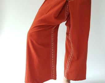 F80038 Hand Sewing Inseam design for Thai Fisherman Pants Wide Leg pants, Wrap pants, Unisex pants, Thai Fisherman Pants, Cotton