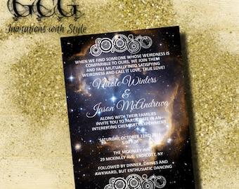 Printable Nebula Galaxy Wedding Invitation suite, Space theme invitations, Digital kit, Wedding set,Gallifreyan symbol invitation RSVP