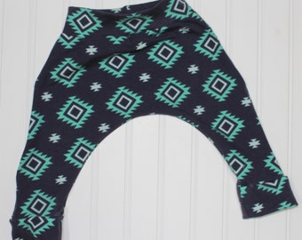 Navy Teal Aztec Harem Pants, Gender Neutral Baby and Kids Harem Pant Leggings, Aztec Diamonds, Navy and Aqua Teal Geometric Pants
