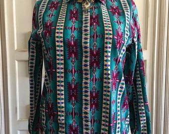 Women's Roper Aztec Geometric Print Cowgirl Button Down Blouse, Size Large