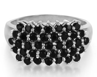 1.68ctw Black Spinel Solid 925 Sterling Silver Ring Size 5.5