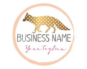DIGITAL Custom logo design, gold dots fox logo, pink cute logo, round logo design fox, business logo design, gold pink round logo