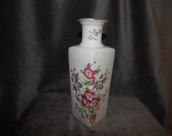 Vintage L & M Inc Ceramic Vase with Gold Painted Trim