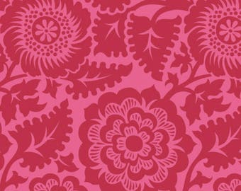 CLEARANCE Blockprint Blossom in Crimson Fabric Joel Dewberry Heirloom Quilters Cotton Red Floral