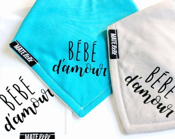 Hand printed Baby bandana bib, Bébé d'amour, French, Valentine's day, Baby, Baby shower gift, teething bib, drool bib, Handmade in Canada