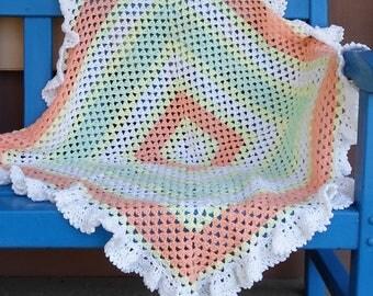 Crocheted Baby Afghan/Blanket with Ruffle
